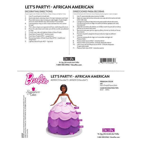 Barbie™ Doll - Let's Party - African American Cake Decorating Instruction Card