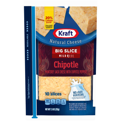 Kraft Big Slice Chipotle Natural Cheese Slices 10 slices - 7.5 oz Wrapper