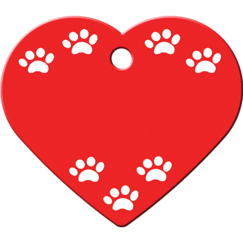 Red with White Paws Large Heart Quick-Tag 5 Pack