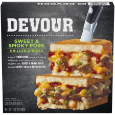 DEVOUR Sweet & Smoky Pork Grilled Cheese Frozen Meal, 7.28 oz Box