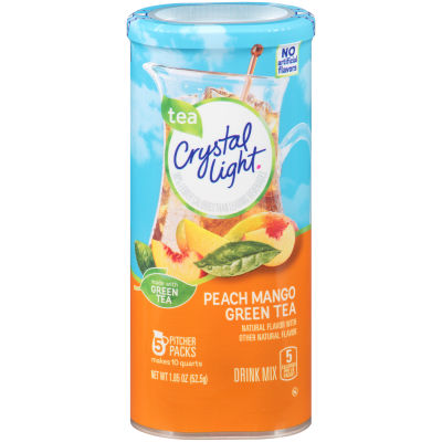 Crystal Light Peach Mango Green Tea Drink Drink Mix, 5 count Canister