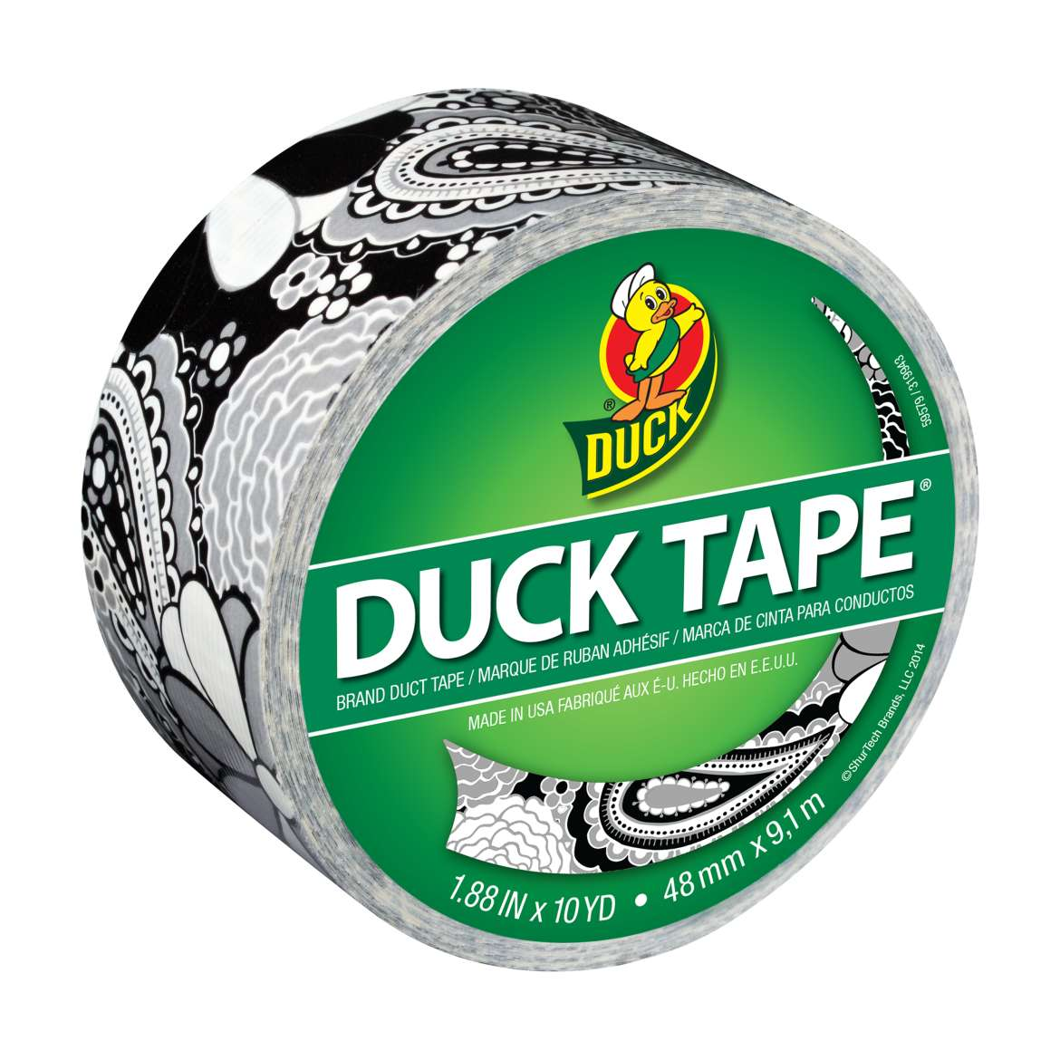 Printed Duck Tape® Brand Duct Tape - Black & White Flowers, 1.88 in. x 10 yd. Image