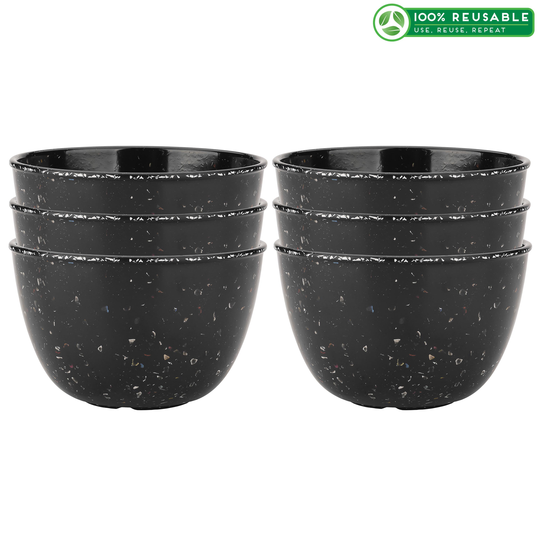 Confetti 24 ounce Soup Bowl, Black & White, 6-piece set slideshow image 1