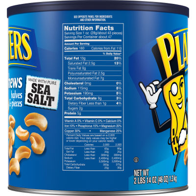 Planters Cashew Halves and Pieces Nuts Made with Pure Sea Salt, 46 oz