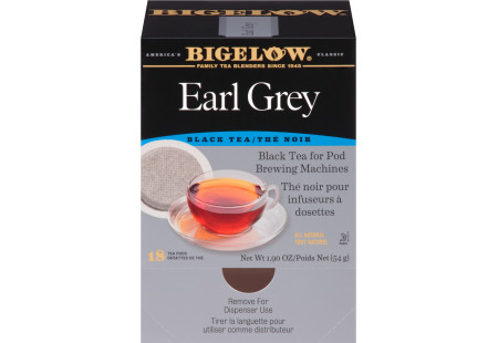 Front facing of Earl Grey Tea for Pod Brewing Machines box