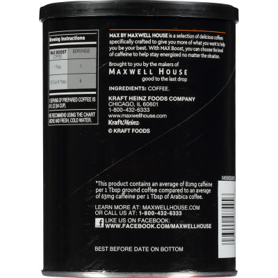 Maxwell House MAX Boost 1.25X more Caffeine 13.5 oz Can