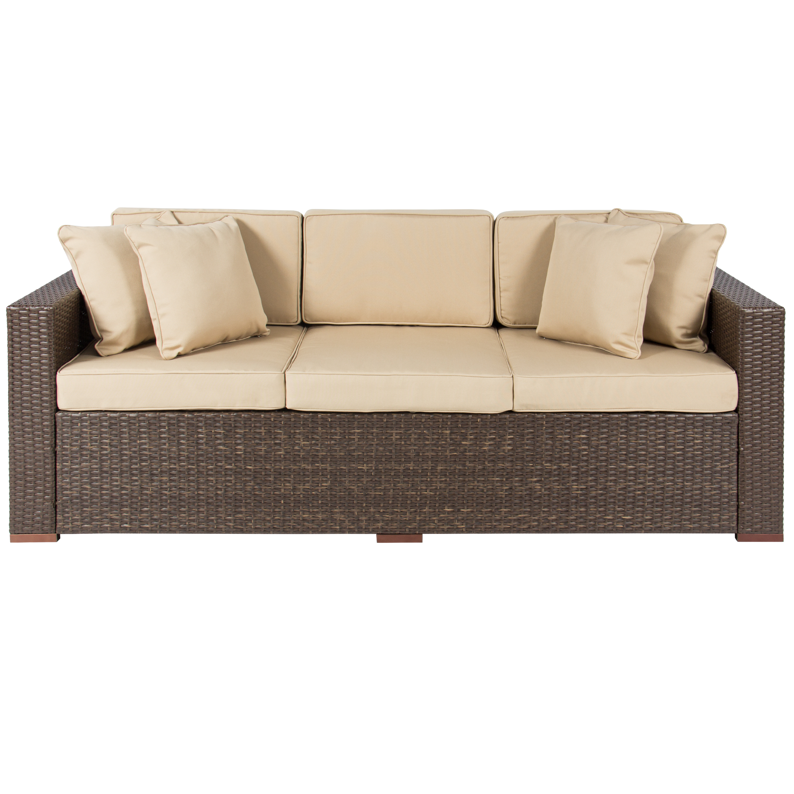Outdoor wicker patio furniture sofa 3 seater luxury comfort brown wicker couch ebay Garden loveseat