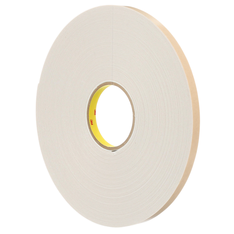 3M™ Double Coated Polyethylene Foam Tape 4496W, White, 54 in x 36 Yds, 62 mil, 1 roll per case