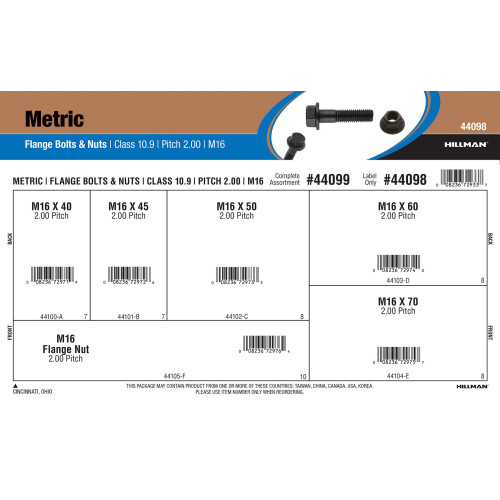 Class 10.9 Metric Flange Bolts & Nuts Assortment (M16-2.00 Thread)