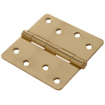 "Hardware Essentials 1/4"" Round Corner Brite Brass Door Hinges (4"")"