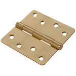 """Hardware Essentials 1/4"""" Round Corner Brite Brass Door Hinges (4"""")"""