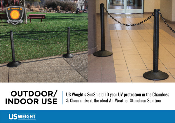 ChainBoss Stanchion - Black Filled with Yellow Chain 3