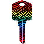 Kool Keys Rainbow Zebra Key Blank