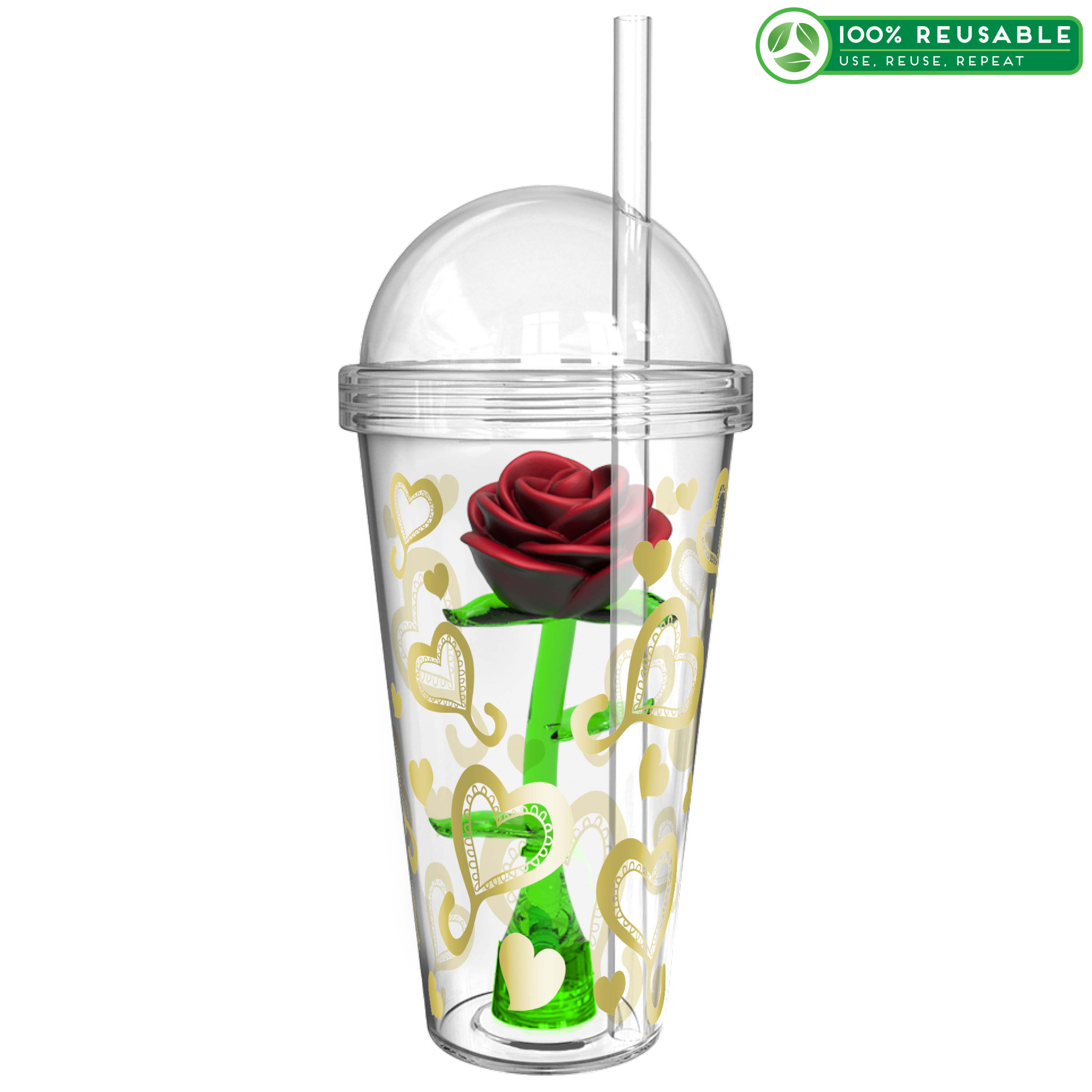 Zak Hydration 22 ounce Tumbler with Straw, Valentine Hearts slideshow image 1
