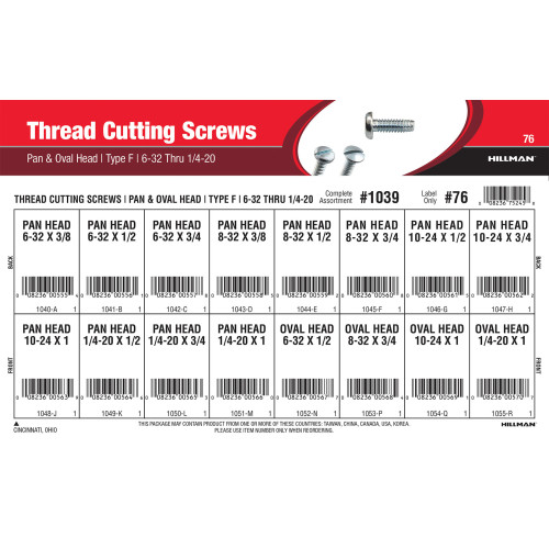 Type F Pan & Oval-Head Thread Cutting Screws Assortment (#6-32 thru 1/4