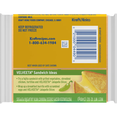 Velveeta Slices Jalapeno Cheese 16 slices - 12 oz Wrapper