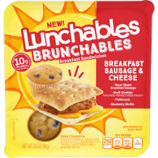 Lunchables Brunchables Sausage & Cheese Breakfast Sandwiches & Blueberry Muffin, 3 oz Tray