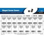"Hinged Screw Covers Assortment (Fits #4, #6, #8, #10, & 1/4"" Diameter Screws)"