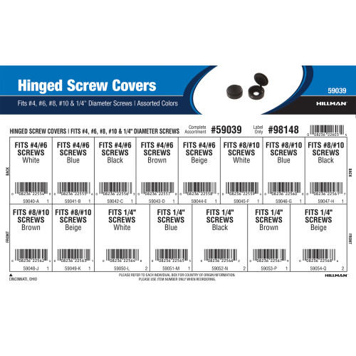 Hinged Screw Covers Assortment (Fits #4, #6, #8, #10, & 1/4