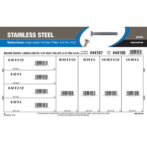 Stainless Steel Phillips Flat-Head Long Length Machine Screws Assortment (#6-32 thru 1/4