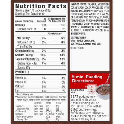 Jell-O Chocolate Fudge Instant Pudding 5.9 oz Box