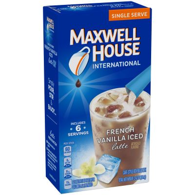 Maxwell House International Iced French Vanilla Latte Cafe-Style Beverage Mix 6-0.57 oz. Single Serve Sticks