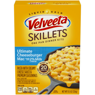 Velveeta Cheesy Skillets Ultimate Cheeseburger Mac Made with 2% Milk Cheese Dinner Kit 11.5 oz Box