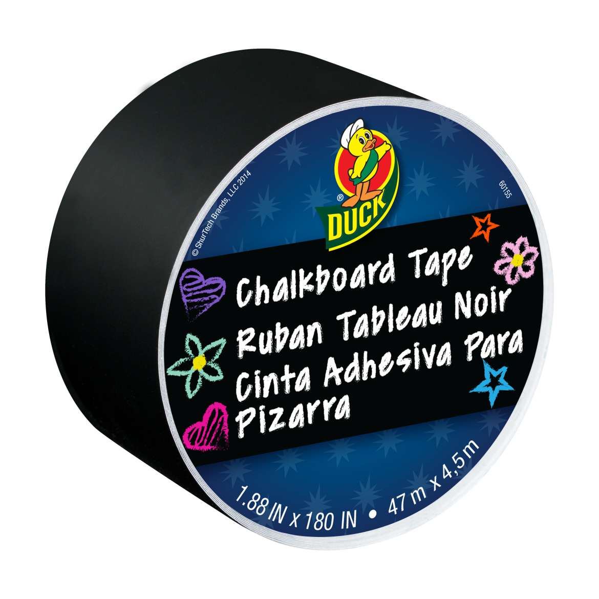 Duck® Brand Chalkboard Tape - Black, 1.88 in. x 5 yd. Image
