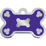 Purple Epoxy with Clear Crystals Large Bone Quick-Tag