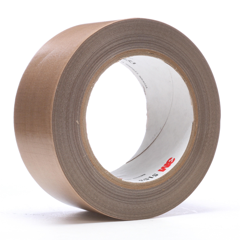 3M™ General Purpose PTFE Glass Cloth Tape 5153, Light Brown, 2 in x 36 yd, 24 rolls per case