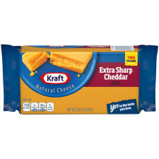 Kraft Extra Sharp Natural Cheddar Cheese Block 2 lb Wrapper