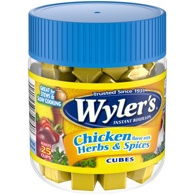 Wyler's Chicken Flavor with Herbs & Spices Instant Bouillon Cubes 3.25 oz Jar