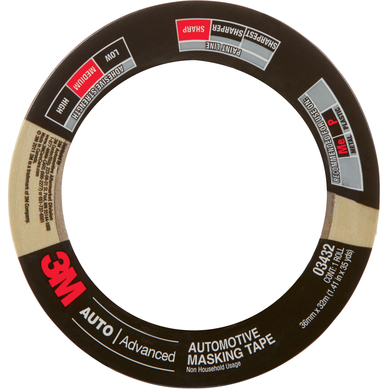 3M™ Automotive Masking Tape, 03432, 36 mm x 32 m, 24 per case