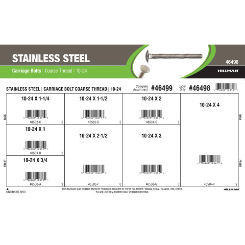 Stainless Steel Carriage Bolts Assortment (#10-24 Coarse Thread)