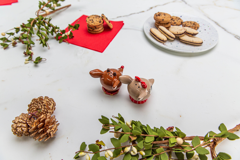 Rudolph the Reindeer Salt and Pepper Shaker Set, Rudolph & Clarice, 2-piece set slideshow image 4