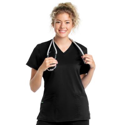 Landau ProFlex Scrub Top for Women: 3 Pocket, Modern Tailored Fit, V-Neck Stretch 4169-