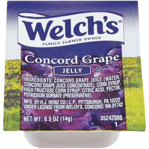 WELCH'S Single Serve Concord Grape Jelly, 0.5 oz. Cups (Pack of 200)