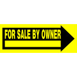 "For Sale by Owner Black and Yellow Arrow Sign, 9"" x 24"""