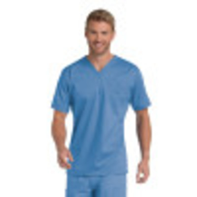 Landau Essentials 1 Pocket Scrub Top for Men: Classic Relaxed Fit, V-Neck Medical 4098-Landau
