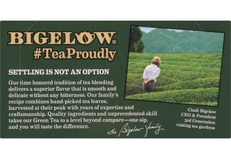 Bigelow Green Tea with Pomegranate tea bag with foil overwrap