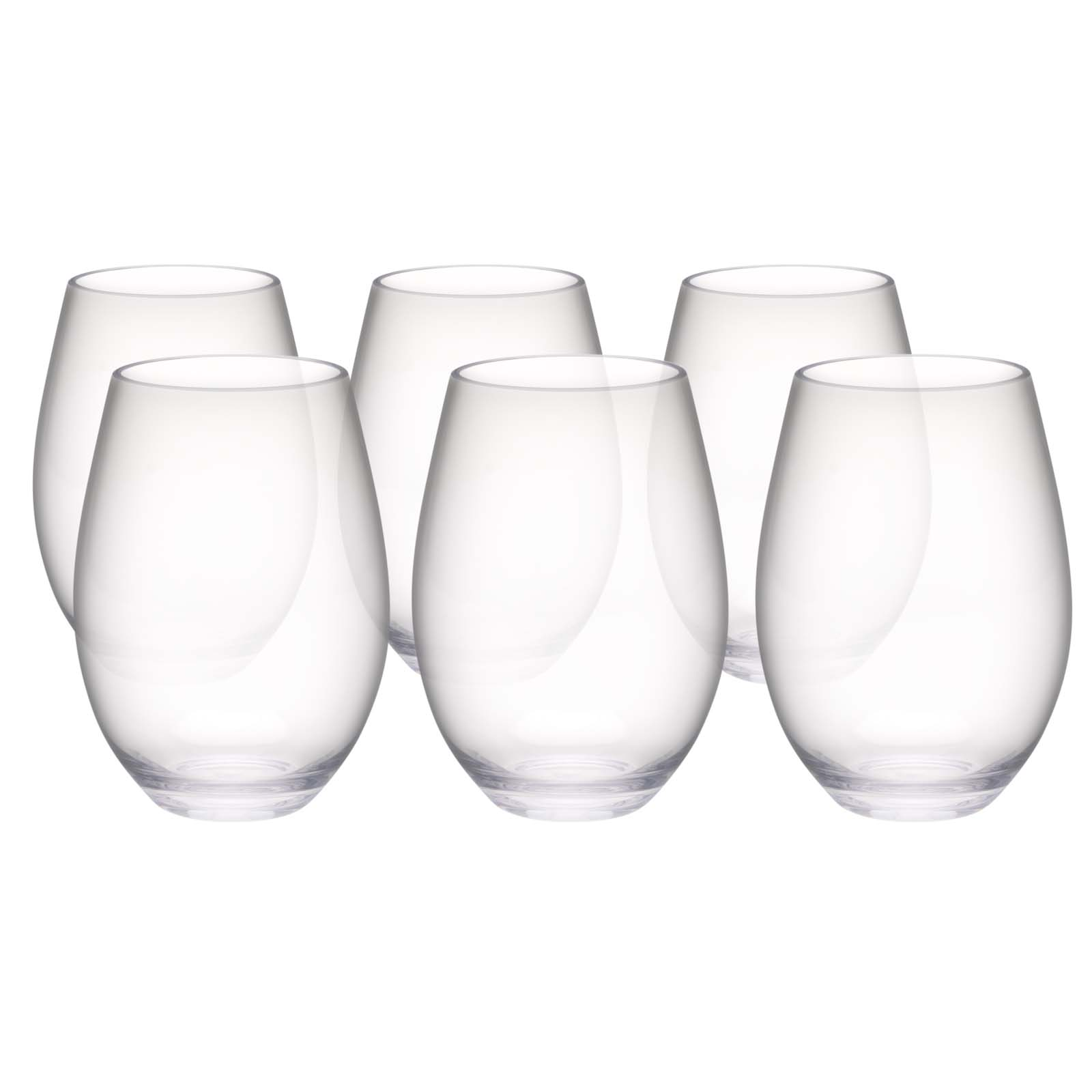Trinity 20 ounce Plastic Wine Glasses, Clear, 2-piece set slideshow image 1