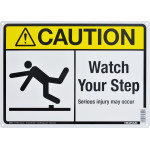 """Aluminum Watch Your Step Caution Sign, 10"""" x 14"""""""