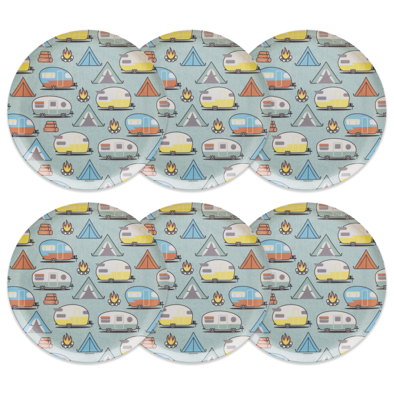 Adventurer Melamine Plate, Tents & Trailers, 6-piece set slideshow image 2