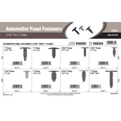 Automotive Panel Fasteners Assortment (31/64