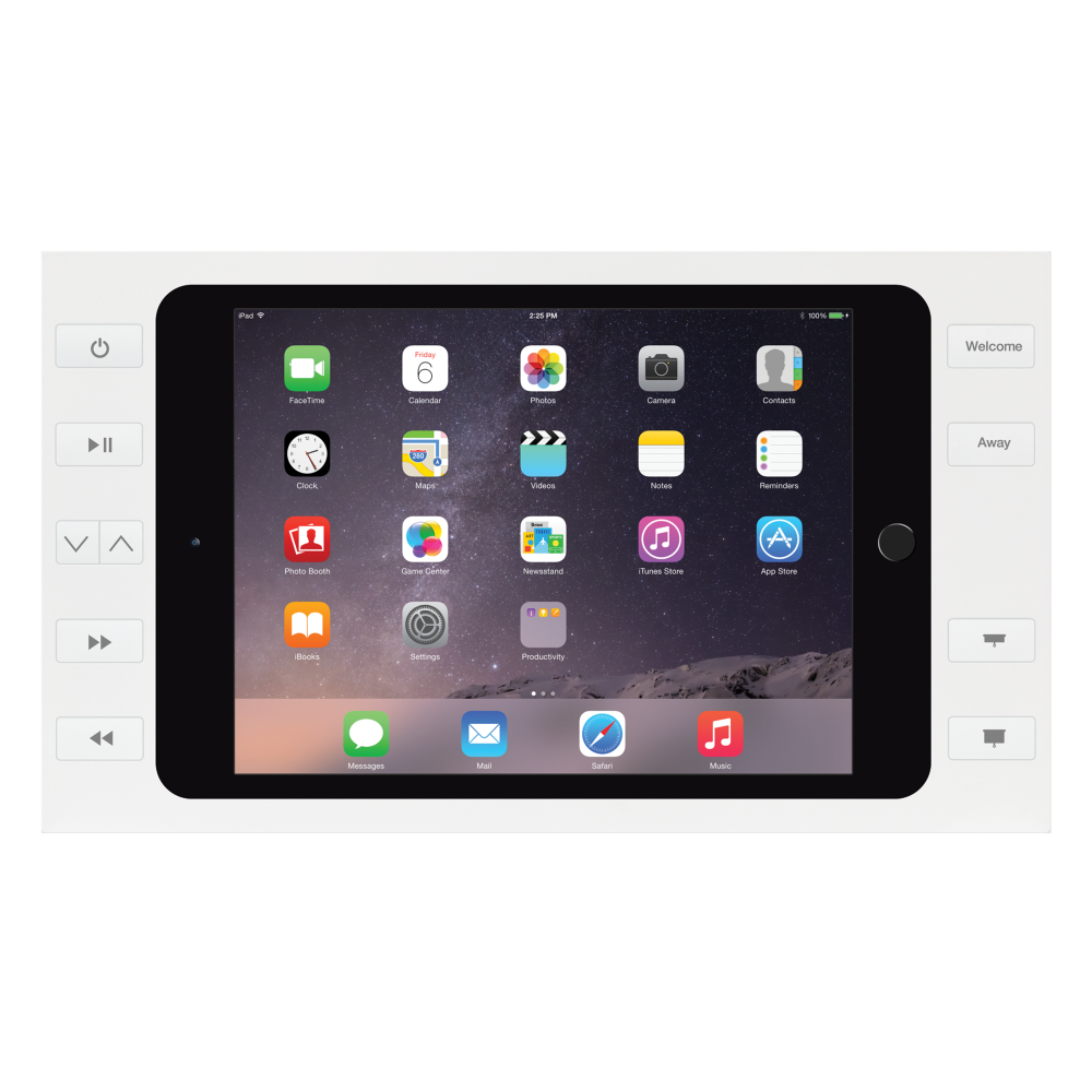 IPORT Surface Mount Buttons, the white iPad wall mount with power by IPORT.