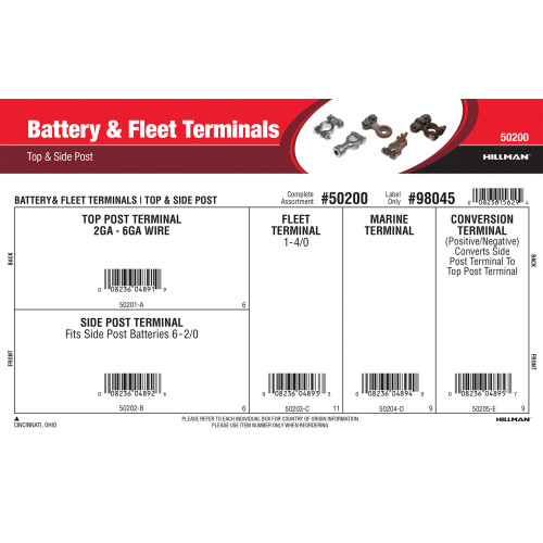 Battery & Fleet Terminals Assortment (Top & Side Post)