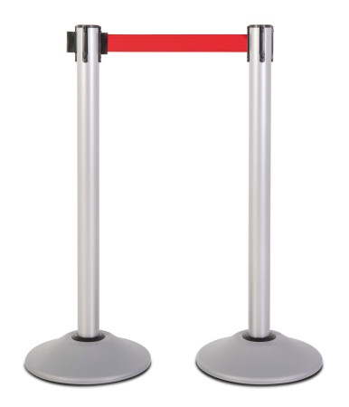 Premium Steel Stanchion - Silver with Red belt 1