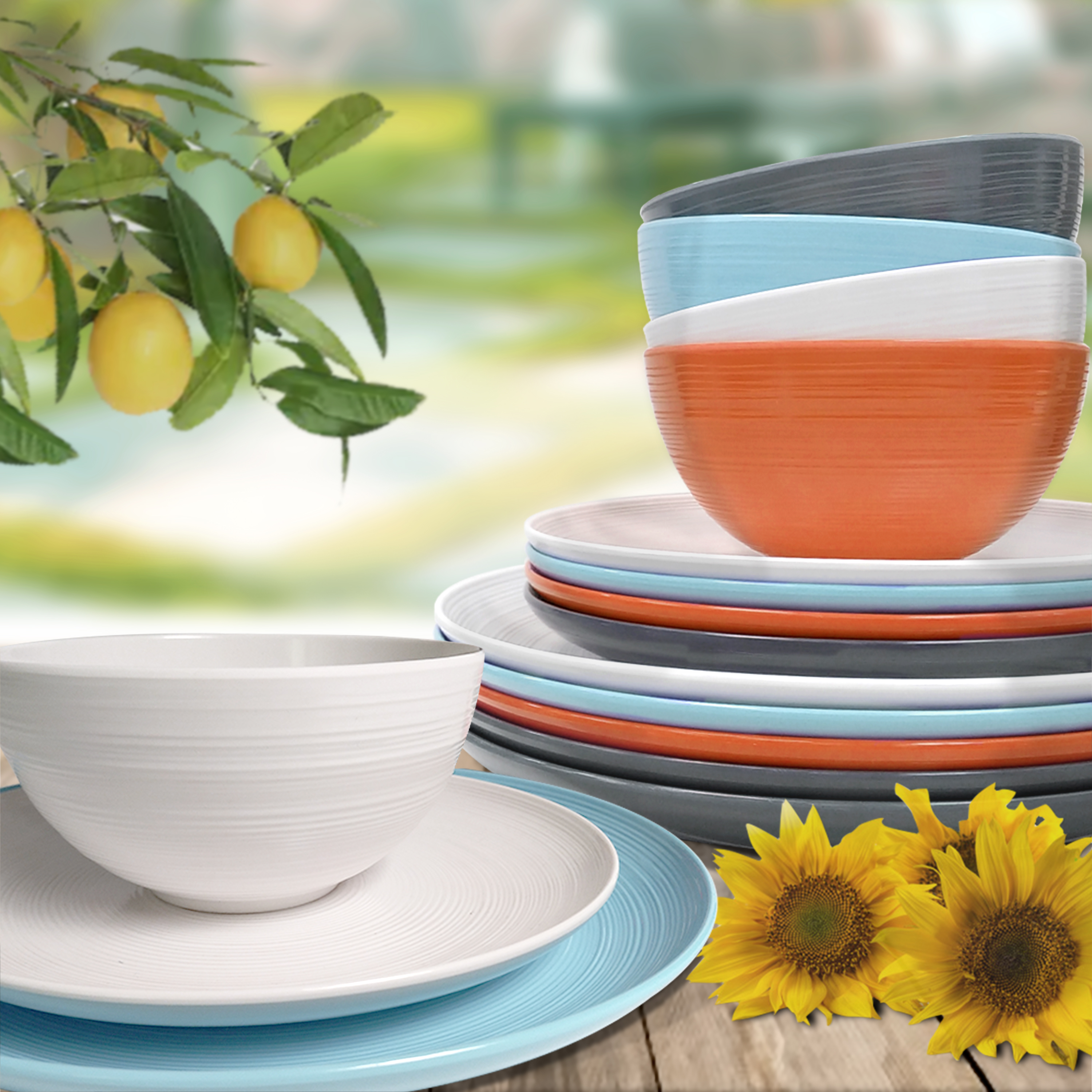 American Conventional Plate & Bowl Sets, Orange, 12-piece set slideshow image 8