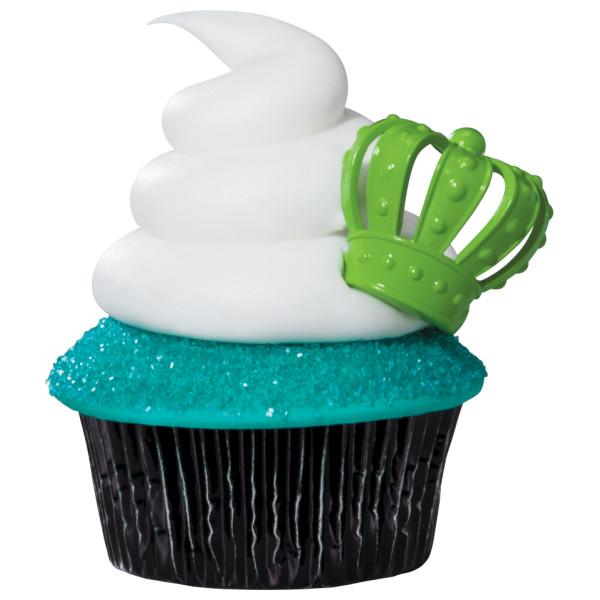 Mardi Gras 3D Crown Cupcake Rings