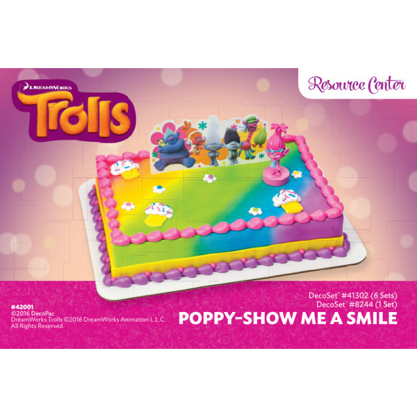 Trolls Poppy Show Me a Smile Cake Decorating Instruction Card
